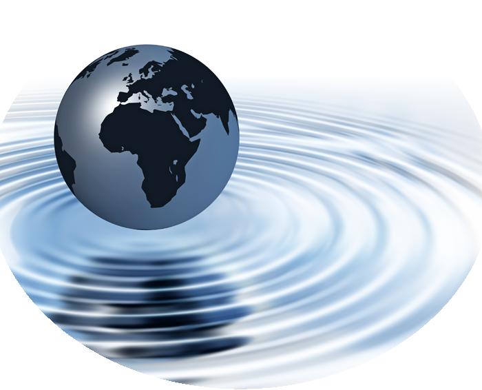 globe in ripple of water